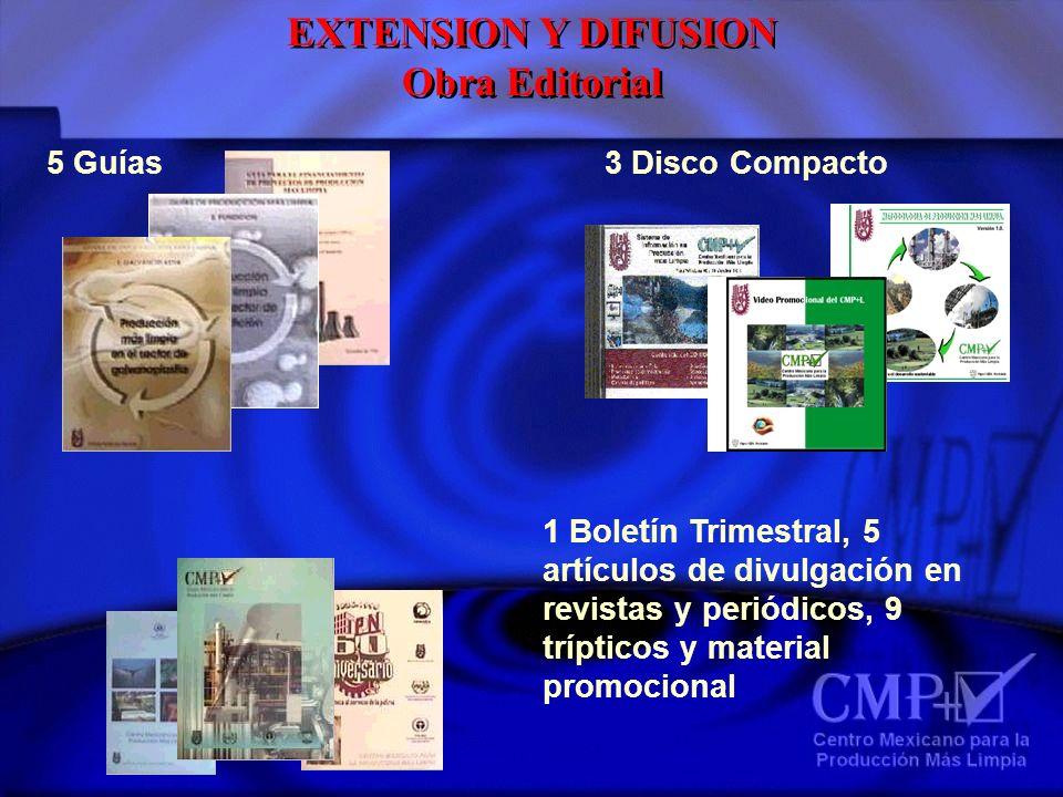 5 Guías3 Disco Compacto 1 Boletín Trimestral, 5 artículos de divulgación en revistas y periódicos, 9 trípticos y material promocional EXTENSION Y DIFU