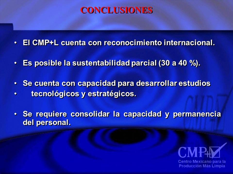 CONCLUSIONES El CMP+L cuenta con reconocimiento internacional. Es posible la sustentabilidad parcial (30 a 40 %). Se cuenta con capacidad para desarro
