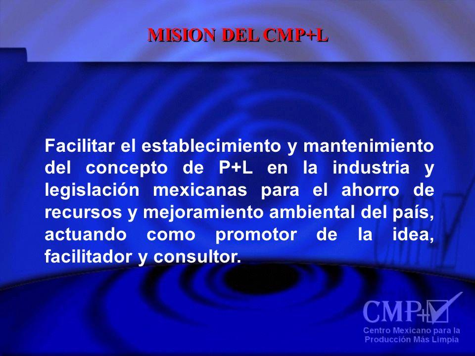 MISION DEL CMP+L Facilitar el establecimiento y mantenimiento del concepto de P+L en la industria y legislación mexicanas para el ahorro de recursos y