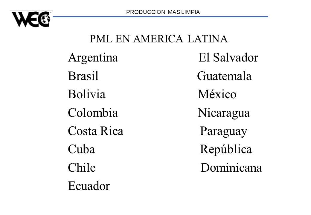 PRODUCCION MAS LIMPIA PML EN AMERICA LATINA Argentina El Salvador Brasil Guatemala Bolivia México Colombia Nicaragua Costa Rica Paraguay Cuba Repúblic