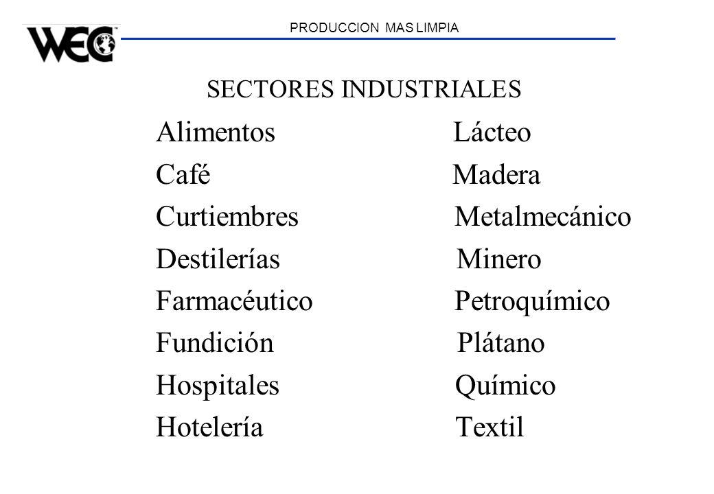 PRODUCCION MAS LIMPIA SECTORES INDUSTRIALES Alimentos Lácteo Café Madera Curtiembres Metalmecánico Destilerías Minero Farmacéutico Petroquímico Fundic