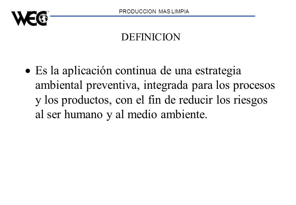 PRODUCCION MAS LIMPIA DEFINICION Es la aplicación continua de una estrategia ambiental preventiva, integrada para los procesos y los productos, con el