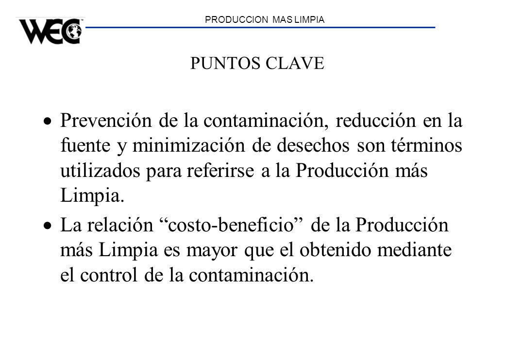 PRODUCCION MAS LIMPIA PUNTOS CLAVE Prevención de la contaminación, reducción en la fuente y minimización de desechos son términos utilizados para refe