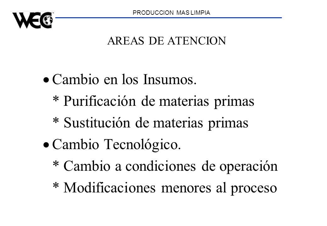 PRODUCCION MAS LIMPIA AREAS DE ATENCION Cambio en los Insumos. * Purificación de materias primas * Sustitución de materias primas Cambio Tecnológico.