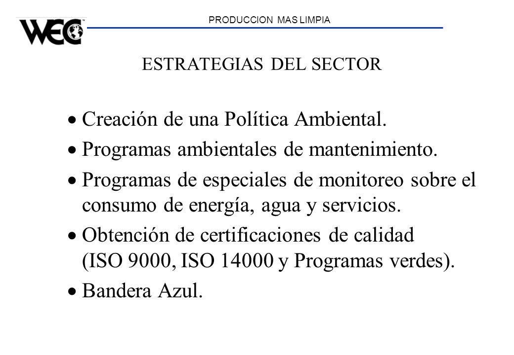 PRODUCCION MAS LIMPIA ESTRATEGIAS DEL SECTOR Creación de una Política Ambiental. Programas ambientales de mantenimiento. Programas de especiales de mo