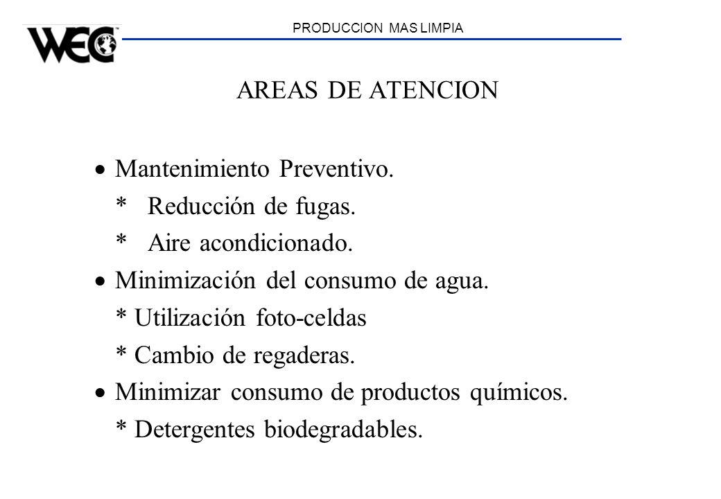 PRODUCCION MAS LIMPIA AREAS DE ATENCION Mantenimiento Preventivo. * Reducción de fugas. * Aire acondicionado. Minimización del consumo de agua. * Util