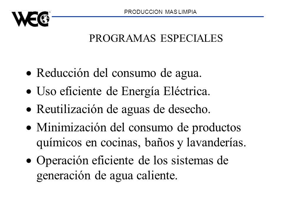PRODUCCION MAS LIMPIA PROGRAMAS ESPECIALES Reducción del consumo de agua. Uso eficiente de Energía Eléctrica. Reutilización de aguas de desecho. Minim