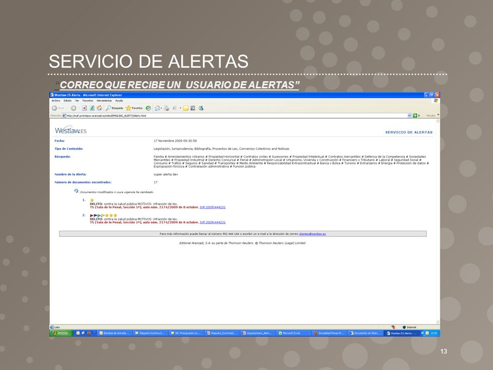 SERVICIO DE ALERTAS 13 CORREO QUE RECIBE UN USUARIO DE ALERTAS