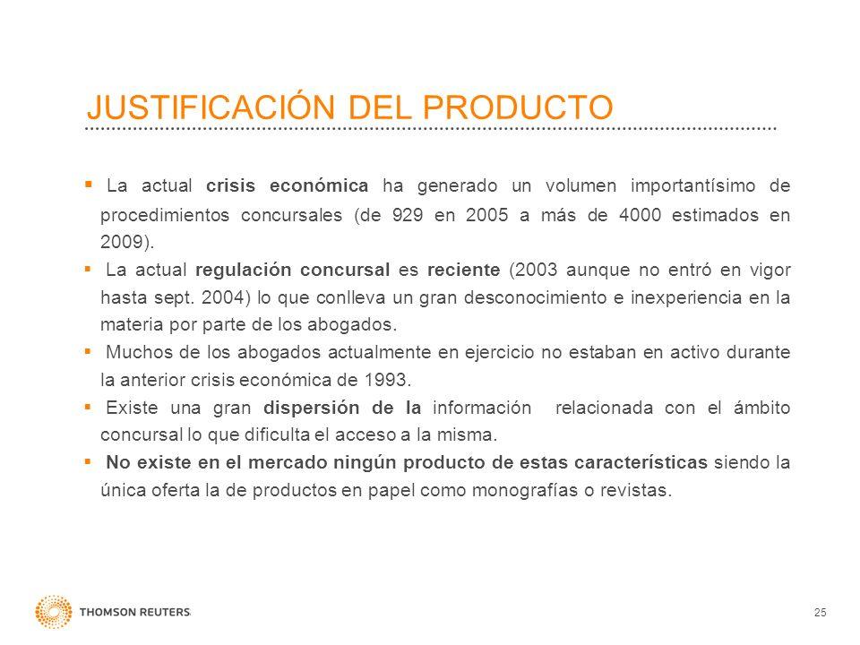 JUSTIFICACIÓN DEL PRODUCTO 25 La actual crisis económica ha generado un volumen importantísimo de procedimientos concursales (de 929 en 2005 a más de