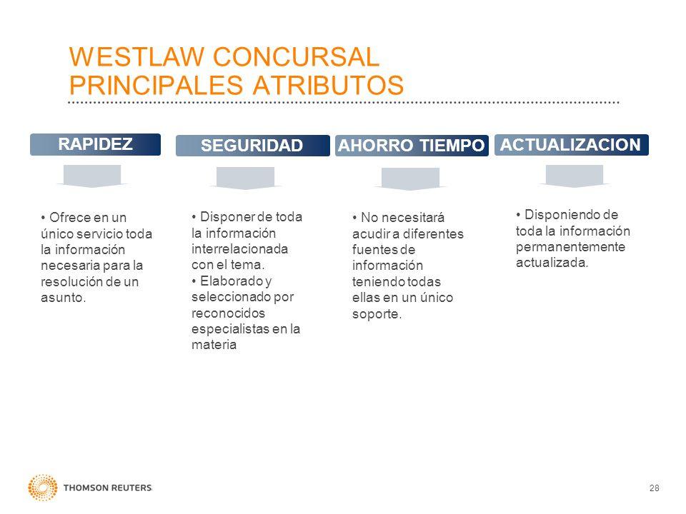 WESTLAW CONCURSAL PRINCIPALES ATRIBUTOS 28 RAPIDEZ SEGURIDAD AHORRO TIEMPO ACTUALIZACION Ofrece en un único servicio toda la información necesaria par
