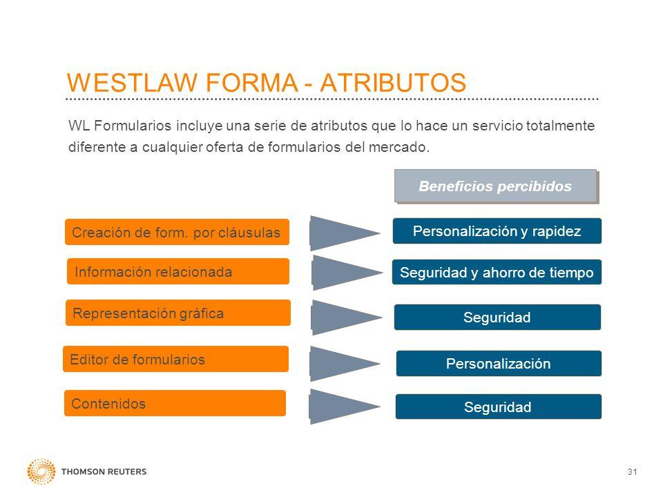 WESTLAW FORMA - ATRIBUTOS 31 WL Formularios incluye una serie de atributos que lo hace un servicio totalmente diferente a cualquier oferta de formular