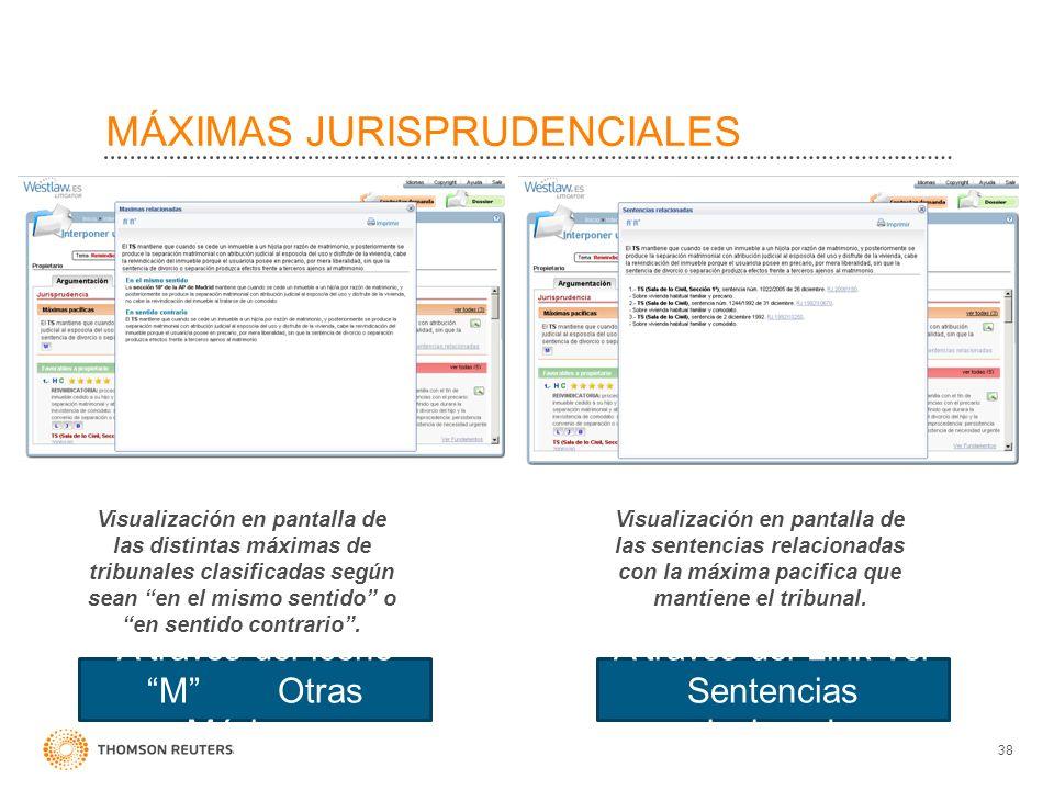 MÁXIMAS JURISPRUDENCIALES Visualización en pantalla de las distintas máximas de tribunales clasificadas según sean en el mismo sentido o en sentido co