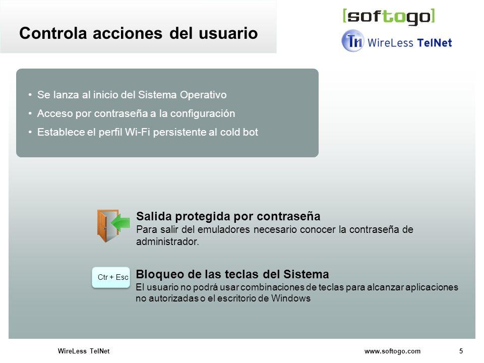 5WireLess TelNet www.softogo.com Se lanza al inicio del Sistema Operativo Acceso por contraseña a la configuración Establece el perfil Wi-Fi persisten