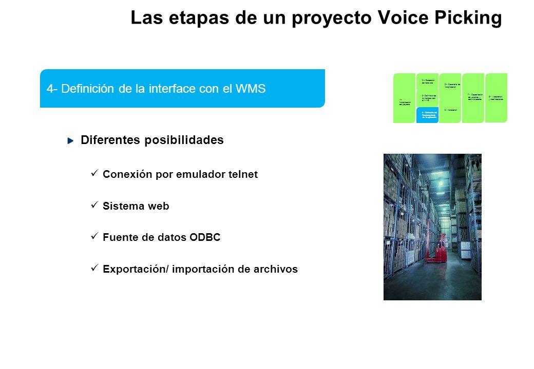 Las etapas de un proyecto Voice Picking Diferentes posibilidades Conexión por emulador telnet Sistema web Fuente de datos ODBC Exportación/ importació