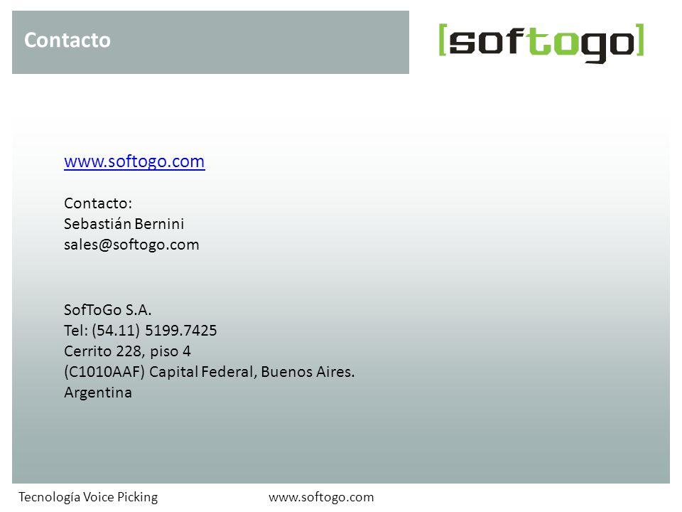 www.softogo.com Contacto: Sebastián Bernini sales@softogo.com SofToGo S.A. Tel: (54.11) 5199.7425 Cerrito 228, piso 4 (C1010AAF) Capital Federal, Buen