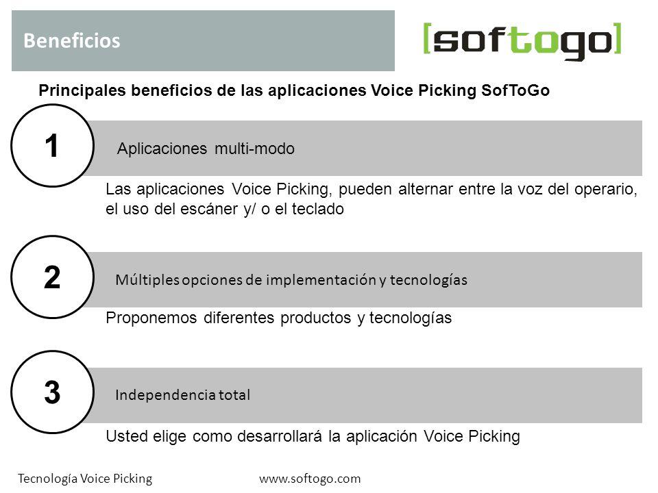 Aplicaciones multi-modo Independencia total Múltiples opciones de implementación y tecnologías Beneficios www.softogo.comTecnología Voice Picking Prin