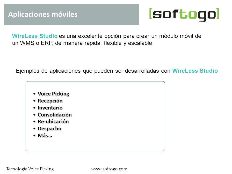 Aplicaciones móviles www.softogo.comTecnología Voice Picking WireLess Studio es una excelente opción para crear un módulo móvil de un WMS o ERP, de ma