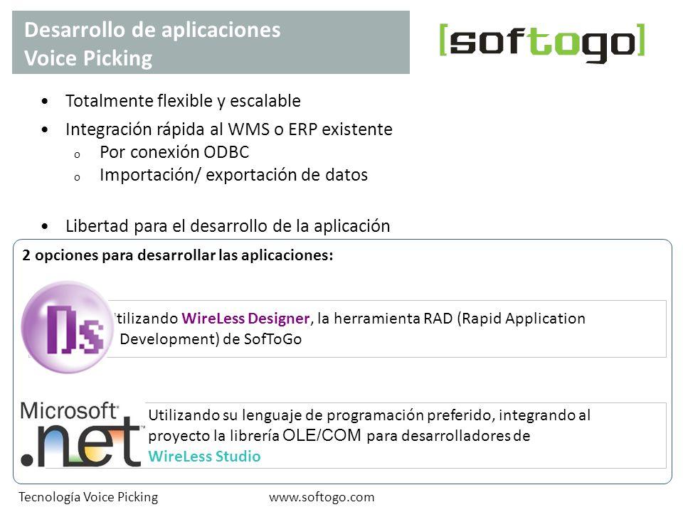 Desarrollo de aplicaciones Voice Picking www.softogo.comTecnología Voice Picking Totalmente flexible y escalable Integración rápida al WMS o ERP exist