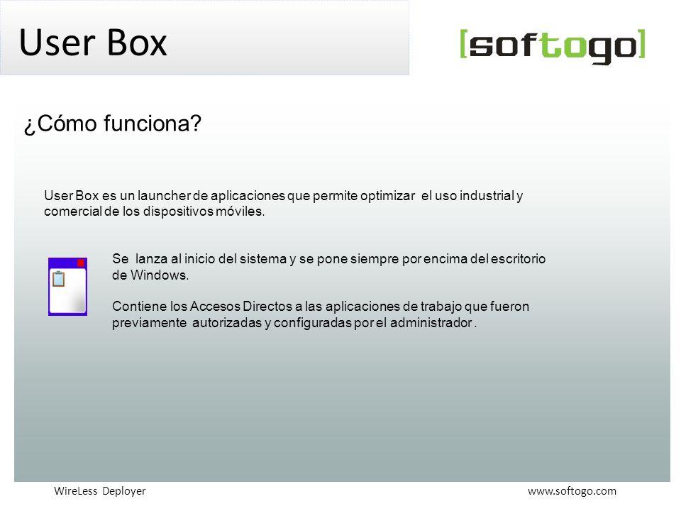 WireLess Deployer www.softogo.com User Box User Box es un launcher de aplicaciones que permite optimizar el uso industrial y comercial de los dispositivos móviles.