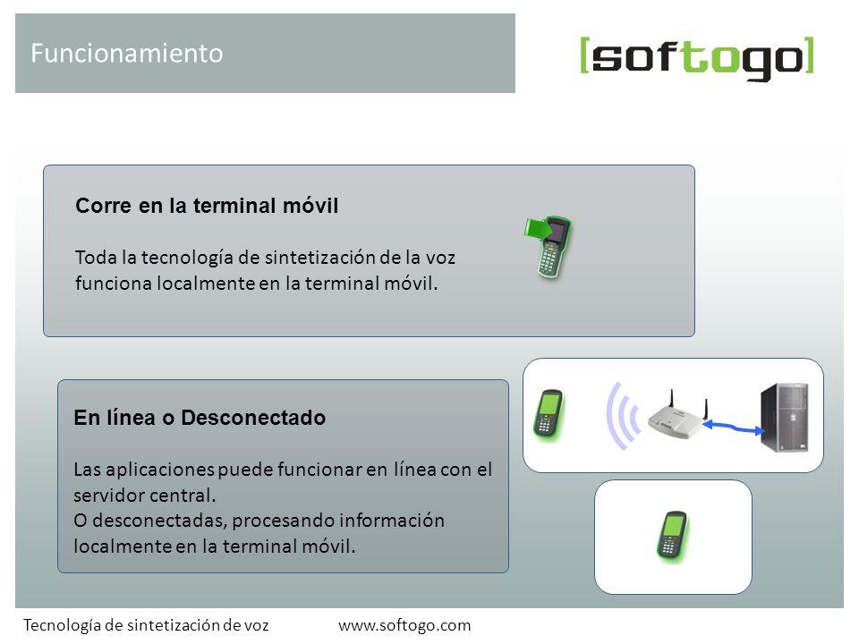 Corre en la terminal móvil Toda la tecnología de sintetización de la voz funciona localmente en la terminal móvil.
