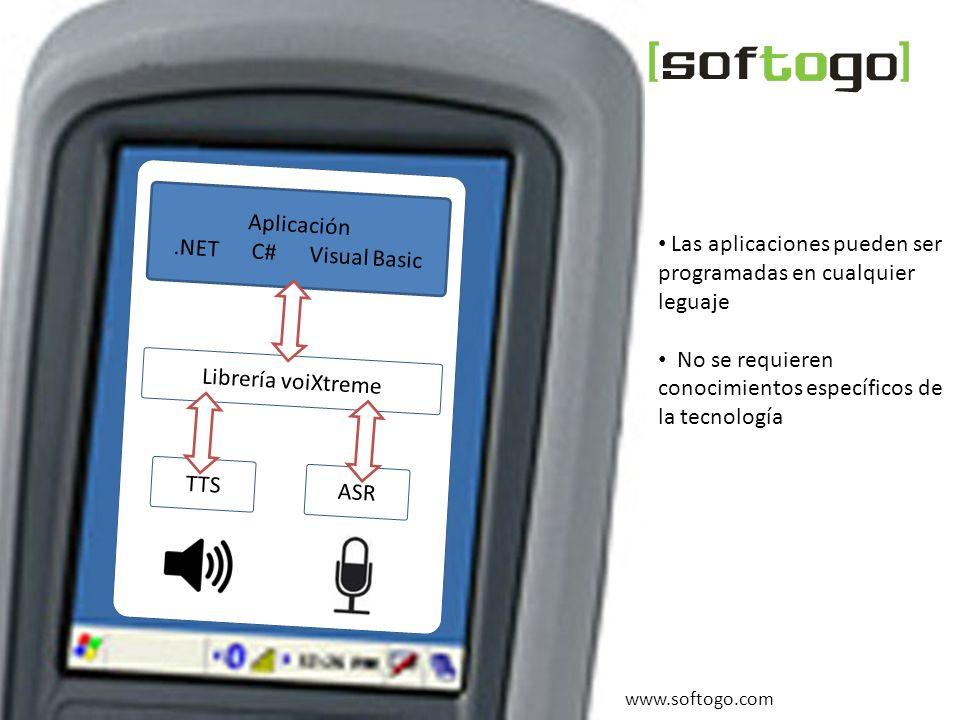 Algunos beneficios Tecnología Voice Picking SofToGo www.softogo.comTecnología de sintetización de voz TTS m_StgVoiceSay( _T( Hola, bienvenido a esta aplicación. ) ) ; ASR m_StgVoiceListen( ) ; Fácil integración - algunos ejemplos de funciones : 0 | 1 | 2 | 3 | 4 | 5 | 6 | 7 | 8 | 9 ; : repetir | anular; : aceptar | comenzar | terminar ; Fácil configuración - ejemplo de Gramática