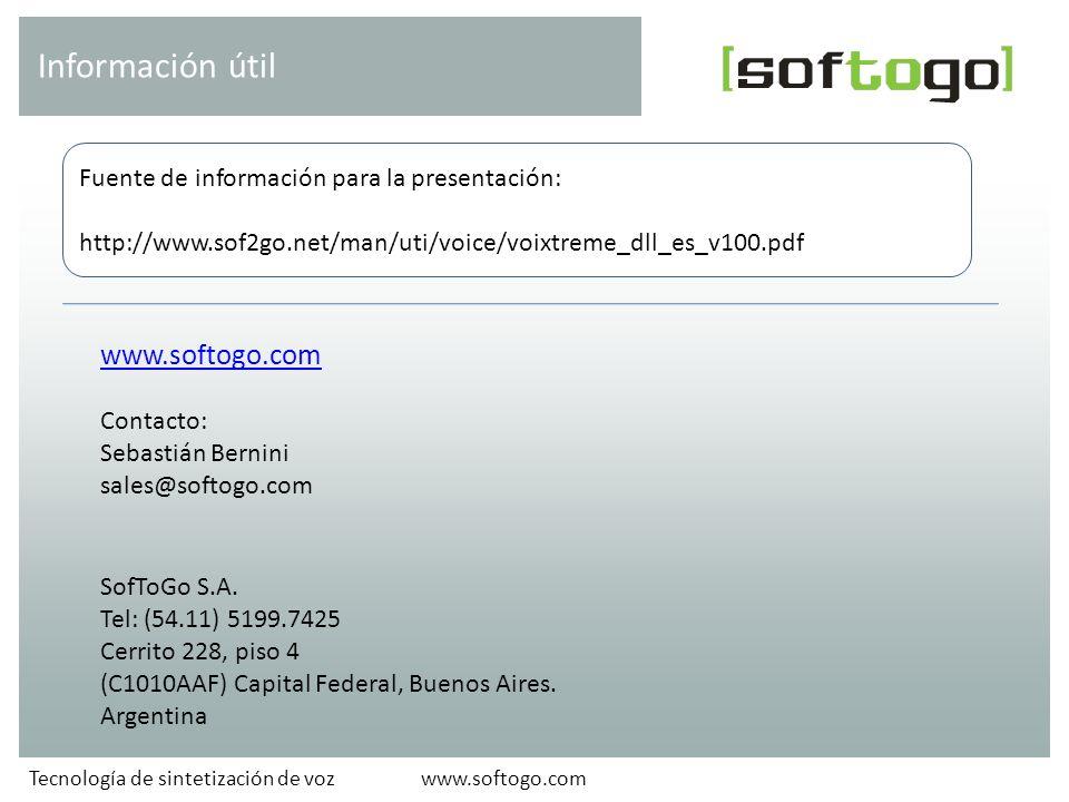 www.softogo.com Contacto: Sebastián Bernini sales@softogo.com SofToGo S.A.