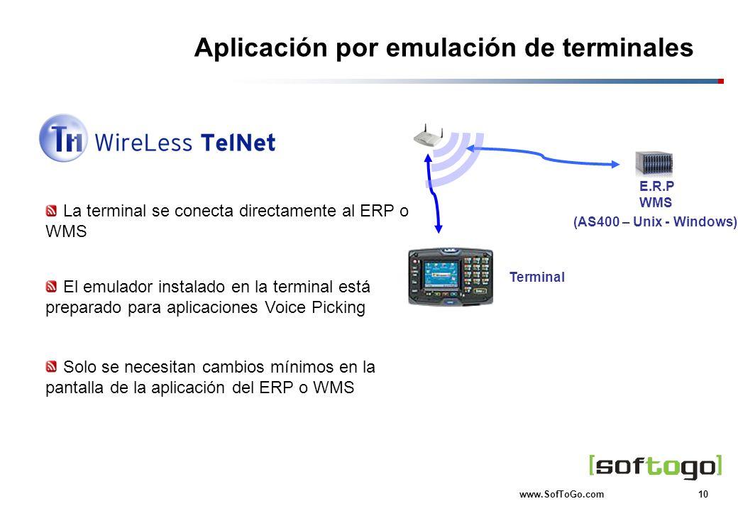 10 www.SofToGo.com Terminal Aplicación por emulación de terminales La terminal se conecta directamente al ERP o WMS E.R.P WMS (AS400 – Unix - Windows)