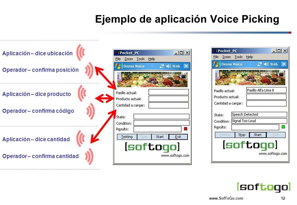 12 www.SofToGo.com Ejemplo de aplicación Voice Picking Aplicación – dice ubicación Operador – confirma posición Operador – confirma código Aplicación
