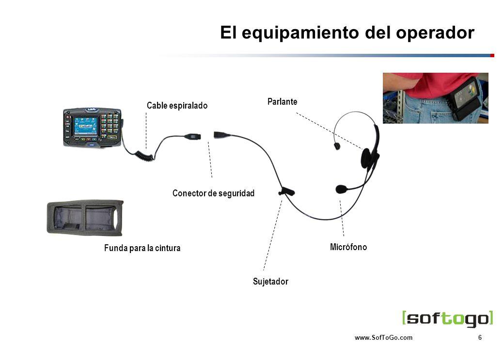 6 www.SofToGo.com El equipamiento del operador Conector de seguridad Micrófono Parlante Funda para la cintura Cable espiralado Sujetador