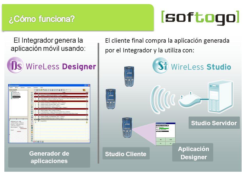 El cliente final compra la aplicación generada por el Integrador y la utiliza con: Aplicación Designer Studio Servidor Studio Cliente El Integrador ge