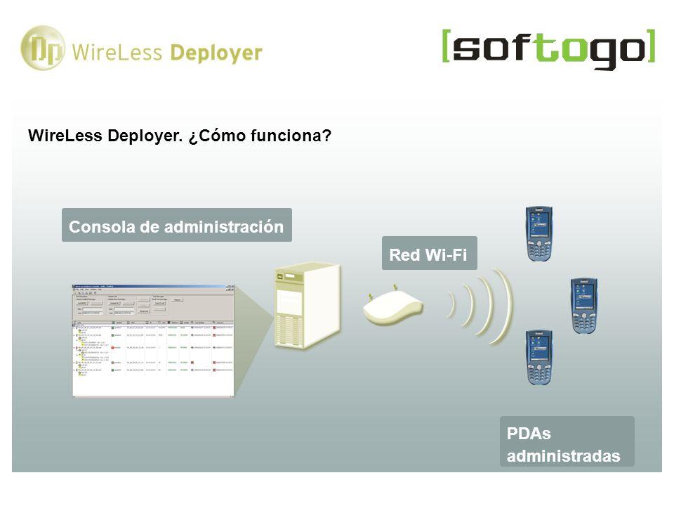 WireLess Deployer. ¿Cómo funciona? Consola de administración PDAs administradas Red Wi-Fi