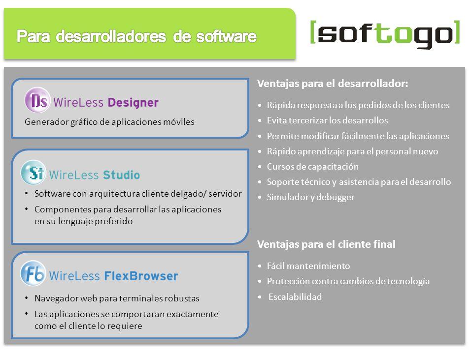 Software con arquitectura cliente delgado/ servidor Componentes para desarrollar las aplicaciones en su lenguaje preferido Generador gráfico de aplica