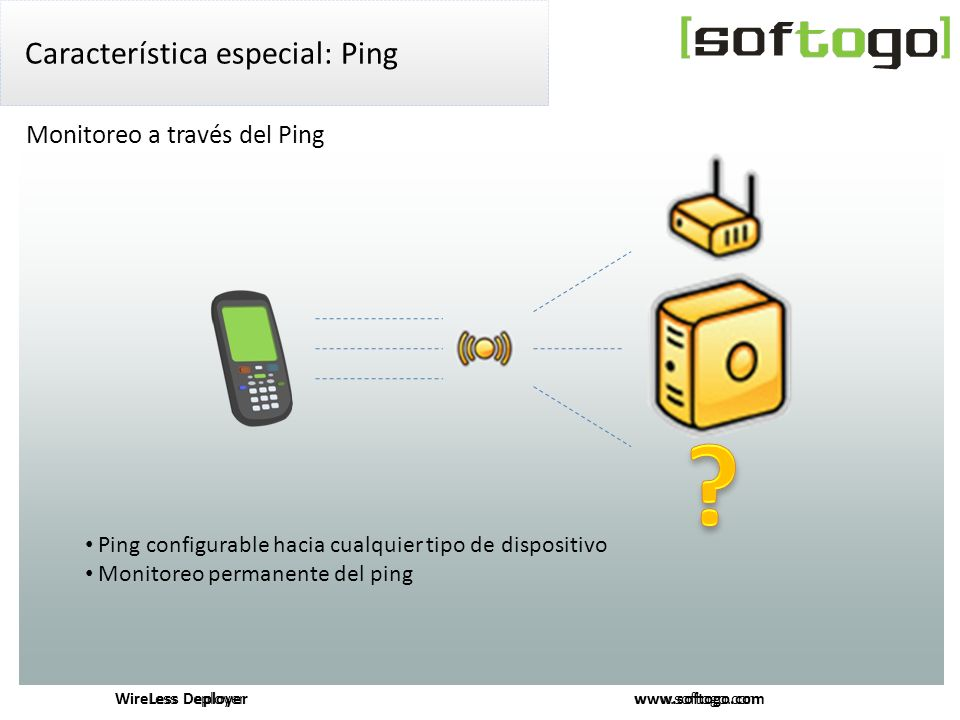 WireLess Deployer www.softogo.com Característica especial: Ping Monitoreo a través del Ping Ping configurable hacia cualquier tipo de dispositivo Monitoreo permanente del ping WireLess Deployer www.softogo.com