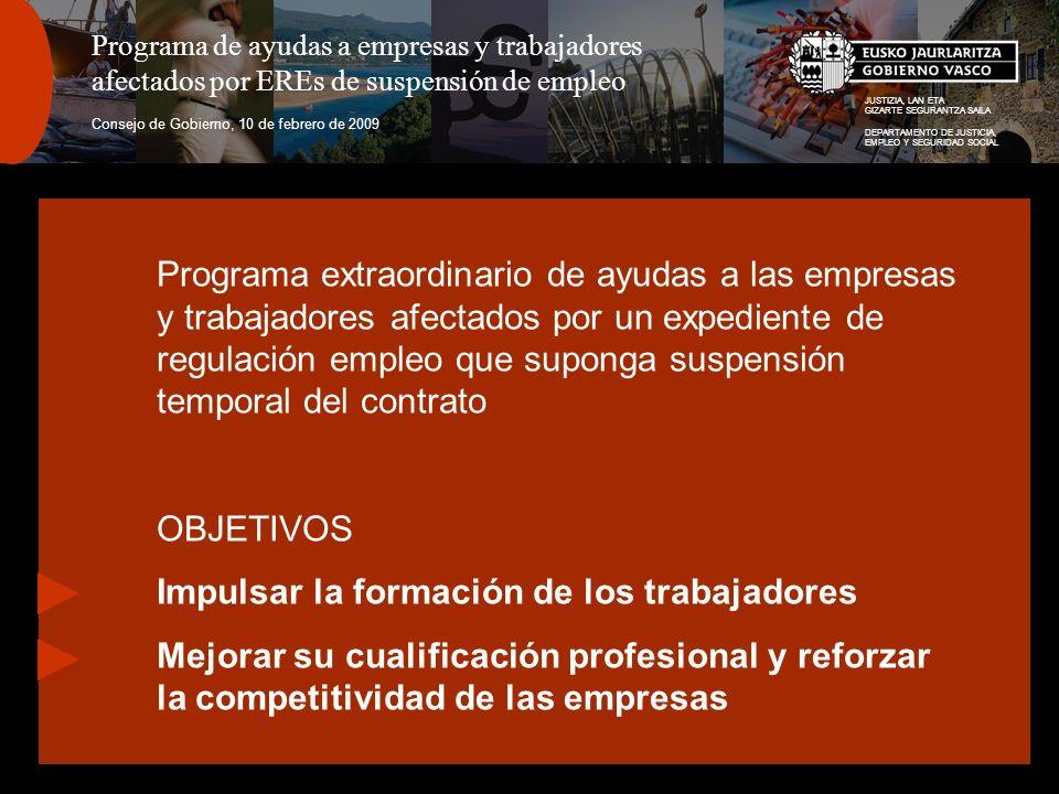 JUSTIZIA, LAN ETA GIZARTE SEGURANTZA SAILA DEPARTAMENTO DE JUSTICIA, EMPLEO Y SEGURIDAD SOCIAL Programa de ayudas a empresas y trabajadores afectados por EREs de suspensión de empleo Consejo de Gobierno, 10 de febrero de 2009 Programa extraordinario de ayudas a las empresas y trabajadores afectados por un expediente de regulación empleo que suponga suspensión temporal del contrato OBJETIVOS Impulsar la formación de los trabajadores Mejorar su cualificación profesional y reforzar la competitividad de las empresas