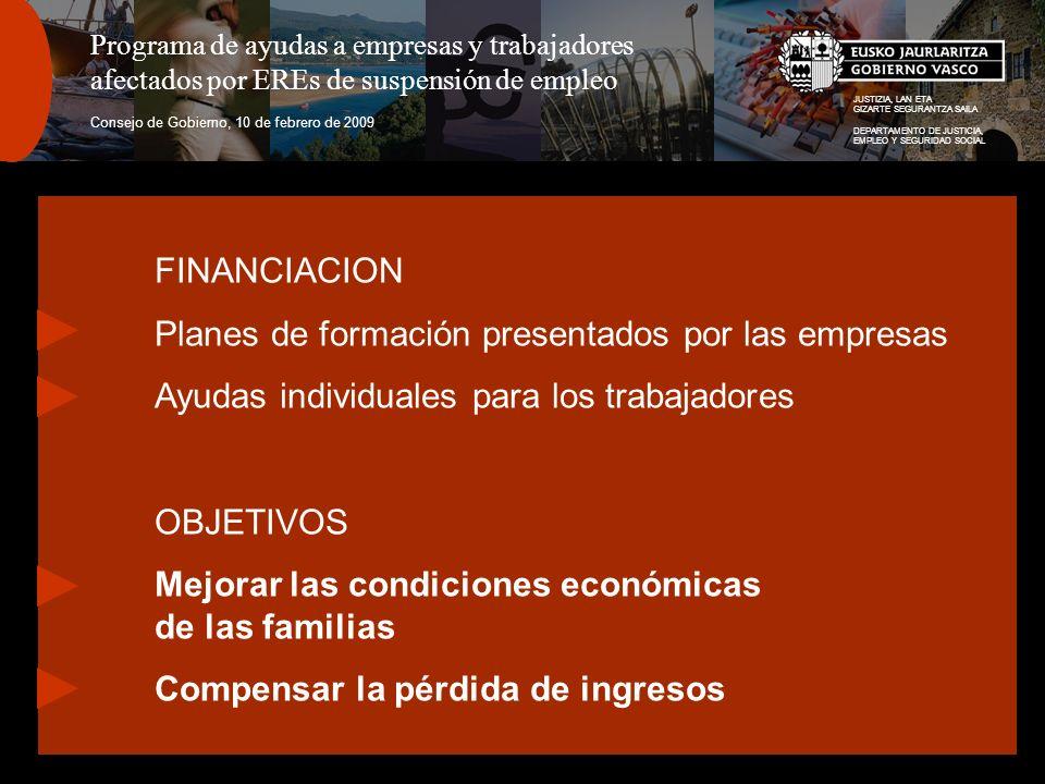 JUSTIZIA, LAN ETA GIZARTE SEGURANTZA SAILA DEPARTAMENTO DE JUSTICIA, EMPLEO Y SEGURIDAD SOCIAL Programa de ayudas a empresas y trabajadores afectados por EREs de suspensión de empleo Consejo de Gobierno, 10 de febrero de 2009 SOLICITUD Empresas de la CAPV que hayan presentado un ERE de suspensión aprobado por la autoridad laboral Plan de formación PLAZO DE PRESENTACION Hasta el 30 de junio de 2009