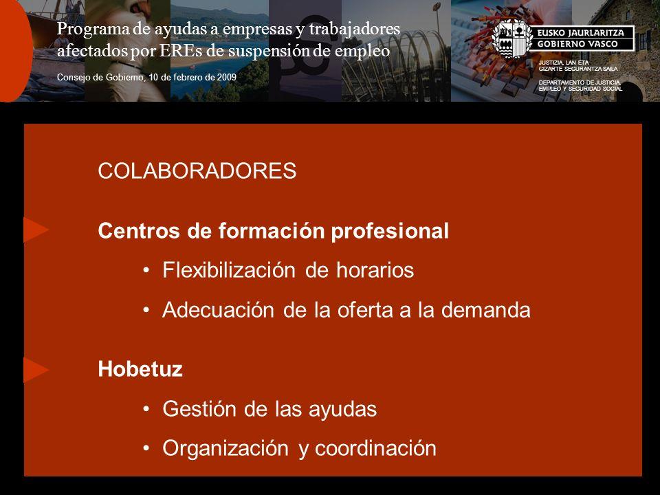 JUSTIZIA, LAN ETA GIZARTE SEGURANTZA SAILA DEPARTAMENTO DE JUSTICIA, EMPLEO Y SEGURIDAD SOCIAL Programa de ayudas a empresas y trabajadores afectados por EREs de suspensión de empleo Consejo de Gobierno, 10 de febrero de 2009 COLABORADORES Centros de formación profesional Flexibilización de horarios Adecuación de la oferta a la demanda Hobetuz Gestión de las ayudas Organización y coordinación