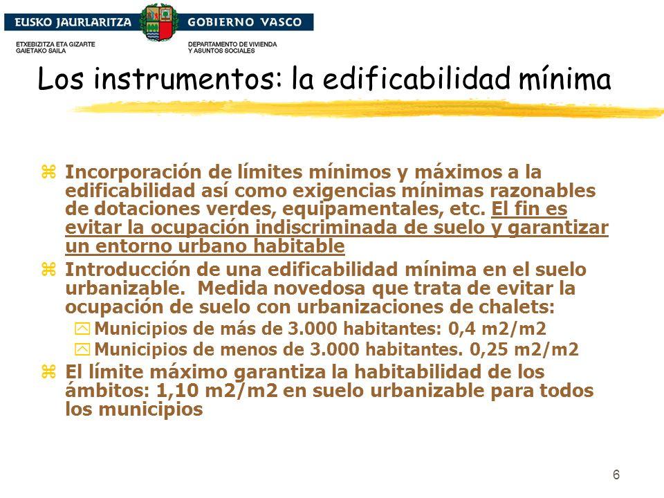 6 Los instrumentos: la edificabilidad mínima zIncorporación de límites mínimos y máximos a la edificabilidad así como exigencias mínimas razonables de dotaciones verdes, equipamentales, etc.