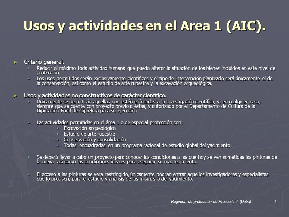 4 Usos y actividades en el Area 1 (AIC). Criterio general. Criterio general. Reducir al máximo toda actividad humana que pueda alterar la situación de