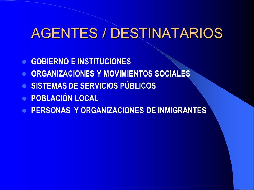 AGENTES / DESTINATARIOS GOBIERNO E INSTITUCIONES ORGANIZACIONES Y MOVIMIENTOS SOCIALES SISTEMAS DE SERVICIOS PÚBLICOS POBLACIÓN LOCAL PERSONAS Y ORGANIZACIONES DE INMIGRANTES