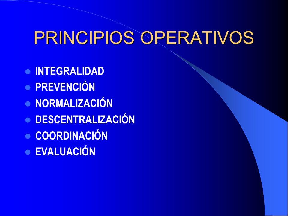PRINCIPIOS OPERATIVOS INTEGRALIDAD PREVENCIÓN NORMALIZACIÓN DESCENTRALIZACIÓN COORDINACIÓN EVALUACIÓN