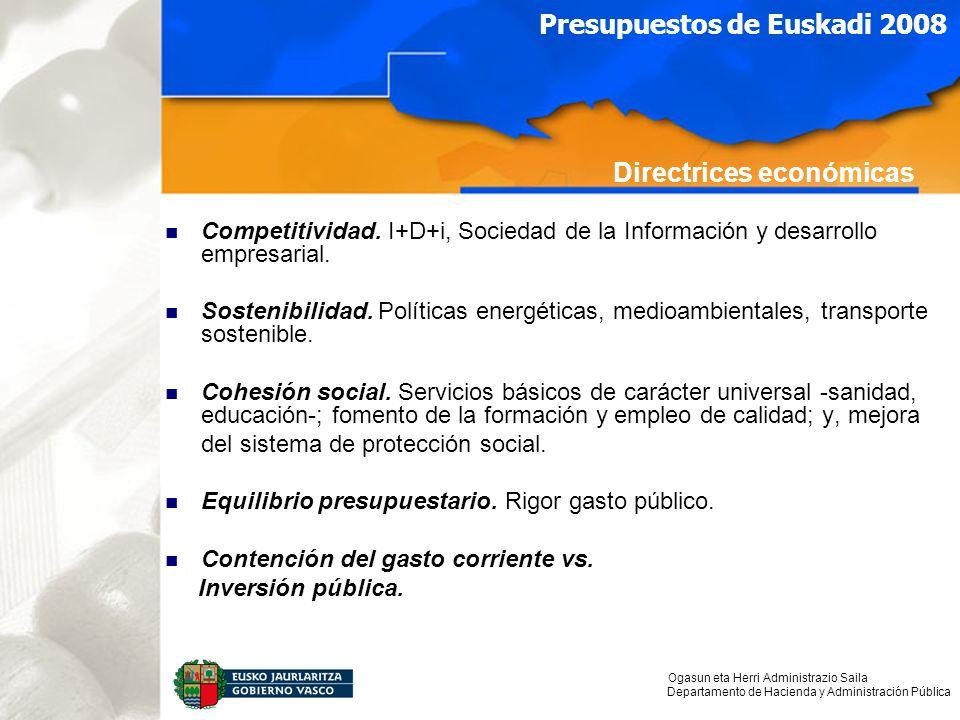 Ogasun eta Herri Administrazio Saila Departamento de Hacienda y Administración Pública Presupuestos de Euskadi 2008 Competitividad.