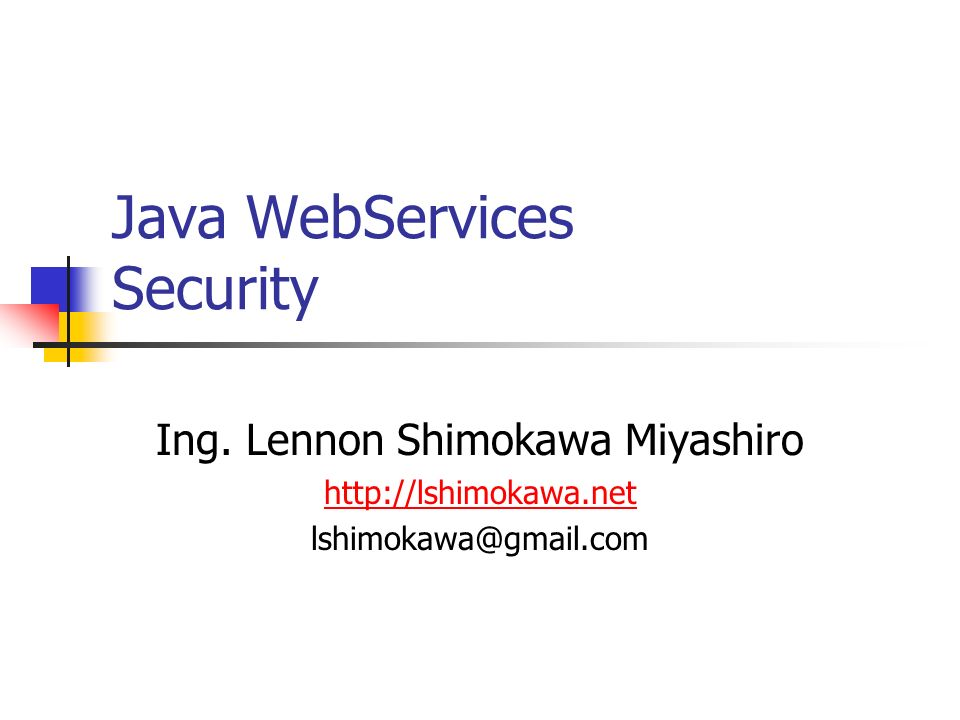 Java WebServices Security Ing.