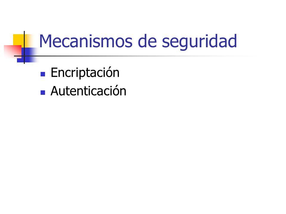 Mecanismos de seguridad Encriptación Autenticación
