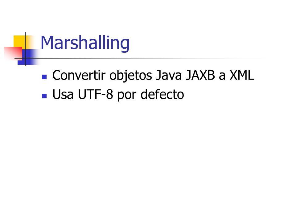 Marshalling Convertir objetos Java JAXB a XML Usa UTF-8 por defecto