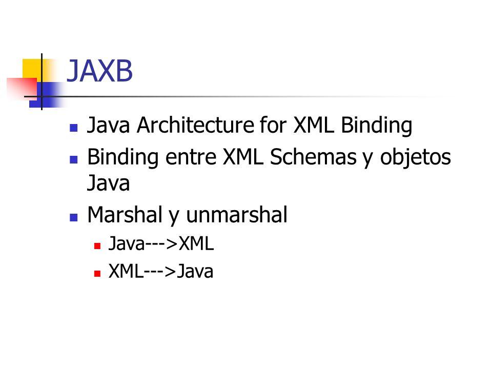 JAXB Java Architecture for XML Binding Binding entre XML Schemas y objetos Java Marshal y unmarshal Java--->XML XML--->Java