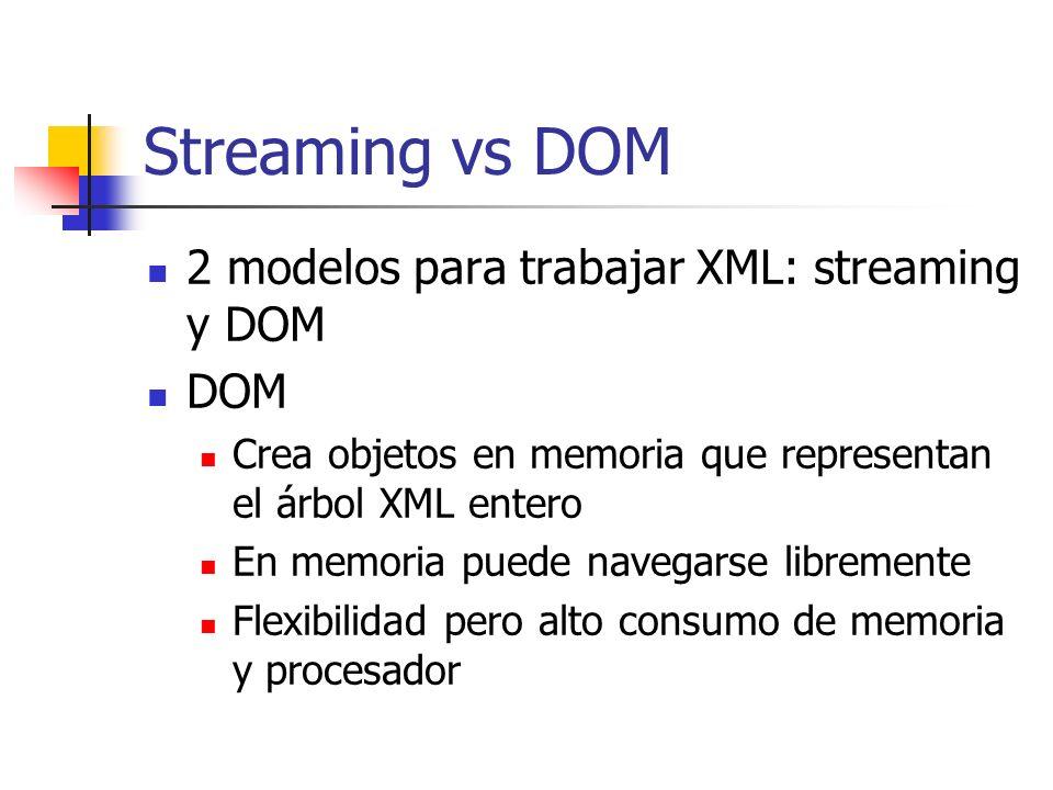 Streaming vs DOM Streaming Parseo serial y en runtime Los contenidos no son conocidos de antemano Menor consumo de memoria y procesador, solo vez una parte del documento XML Para aplicaciones con limitaciones de memoria (móviles) o áltamente concurrentes (app servers)