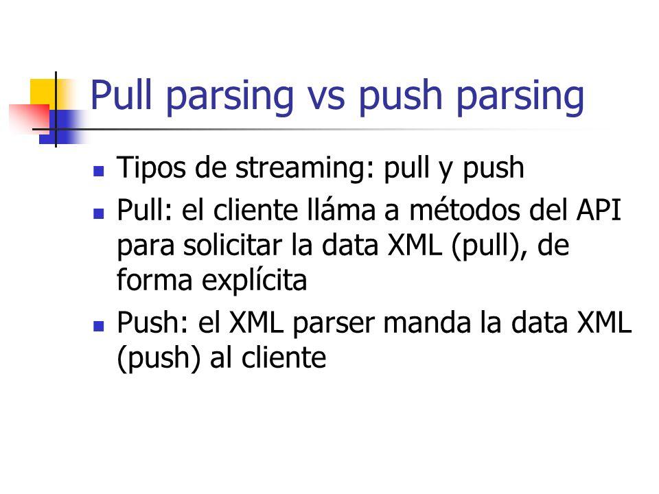 Pull parsing vs push parsing Ventajas de pull parsing Con pull el cliente controla el thread, con push el parser controla el thread Con pull tienes menos cantidad de código y es más simple Con pull puedes leer múltiples documentos con un solo thread Se puede filtrar el contenido XML innecesario