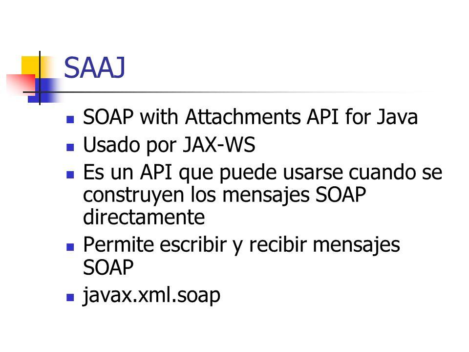 SAAJ SOAP with Attachments API for Java Usado por JAX-WS Es un API que puede usarse cuando se construyen los mensajes SOAP directamente Permite escribir y recibir mensajes SOAP javax.xml.soap
