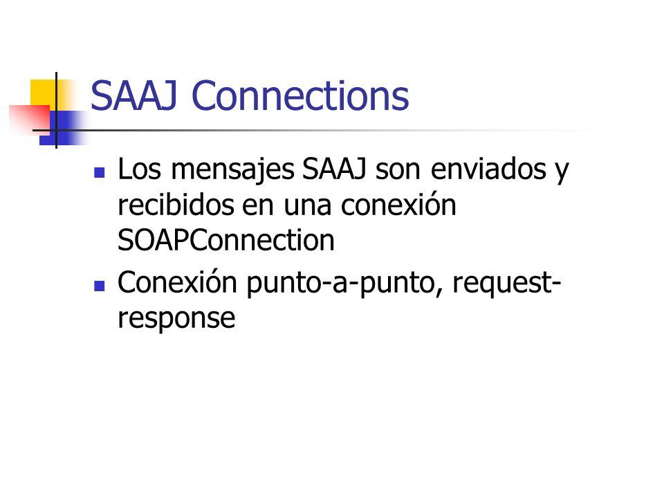SAAJ Connections Los mensajes SAAJ son enviados y recibidos en una conexión SOAPConnection Conexión punto-a-punto, request- response