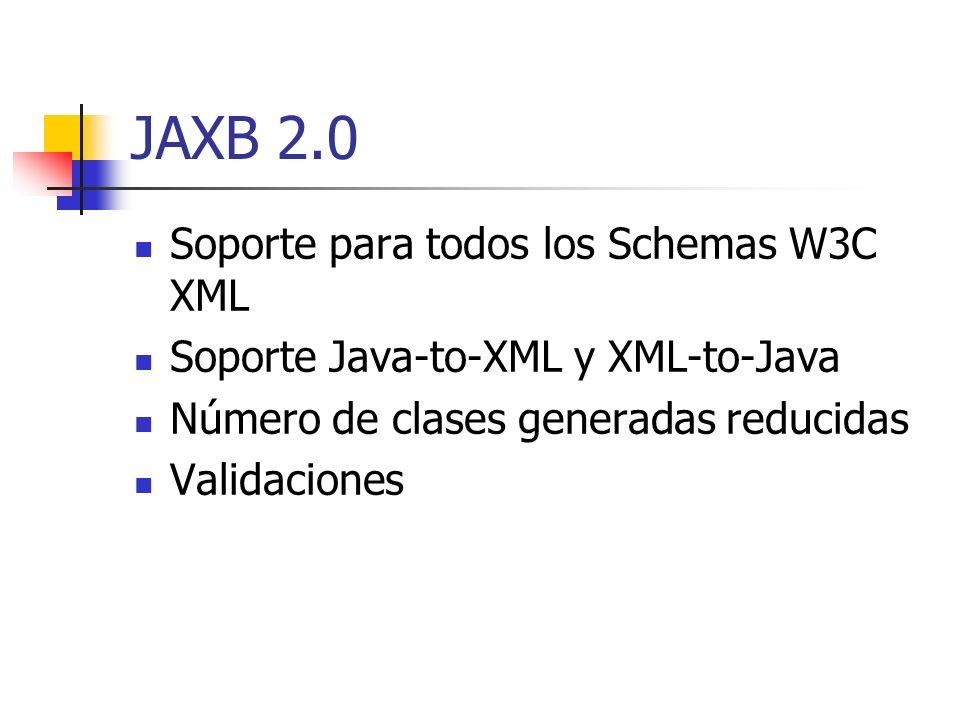 JAXB 2.0 Soporte para todos los Schemas W3C XML Soporte Java-to-XML y XML-to-Java Número de clases generadas reducidas Validaciones